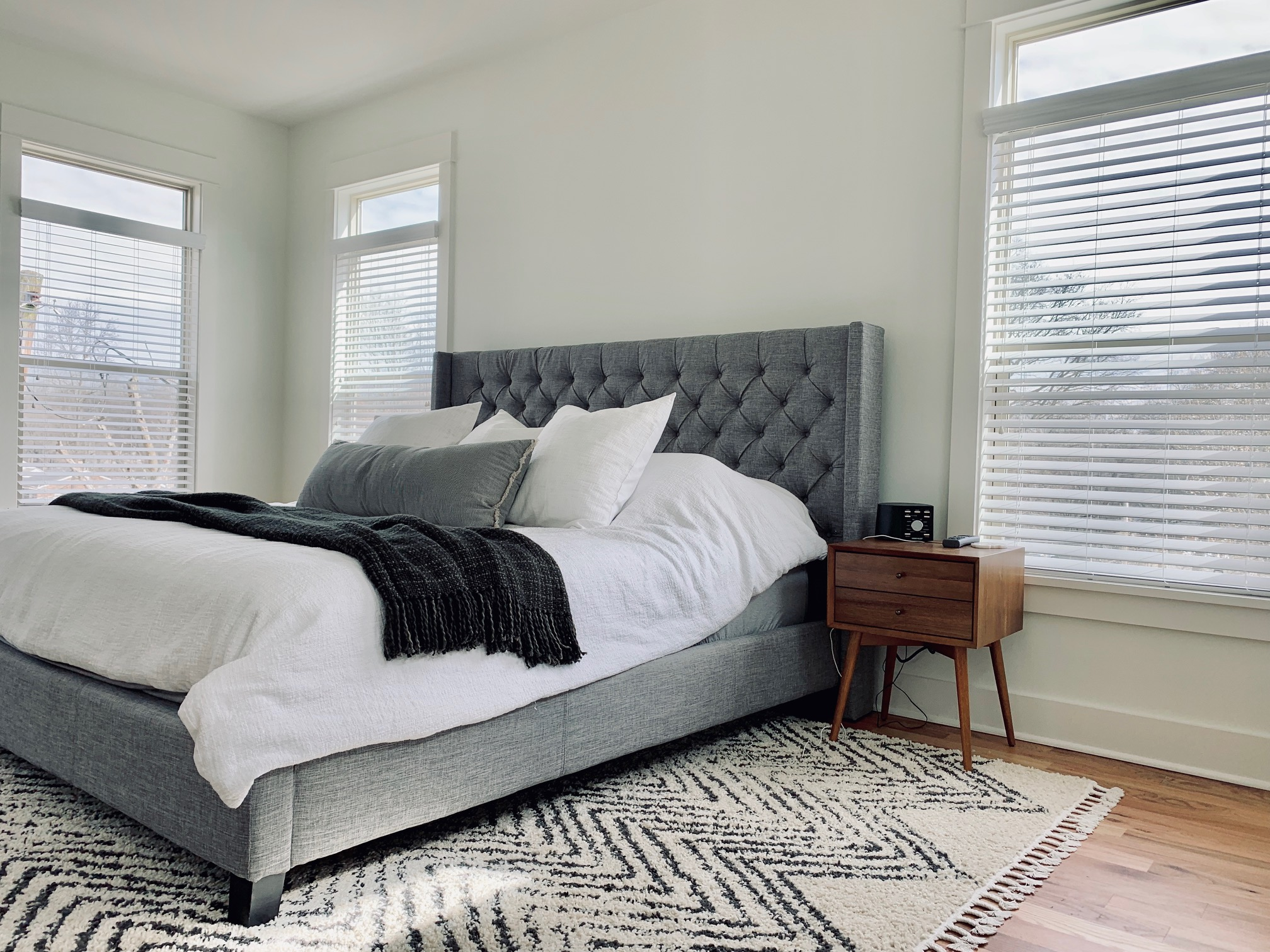 Faux Wood Blinds in Master Bedroom
