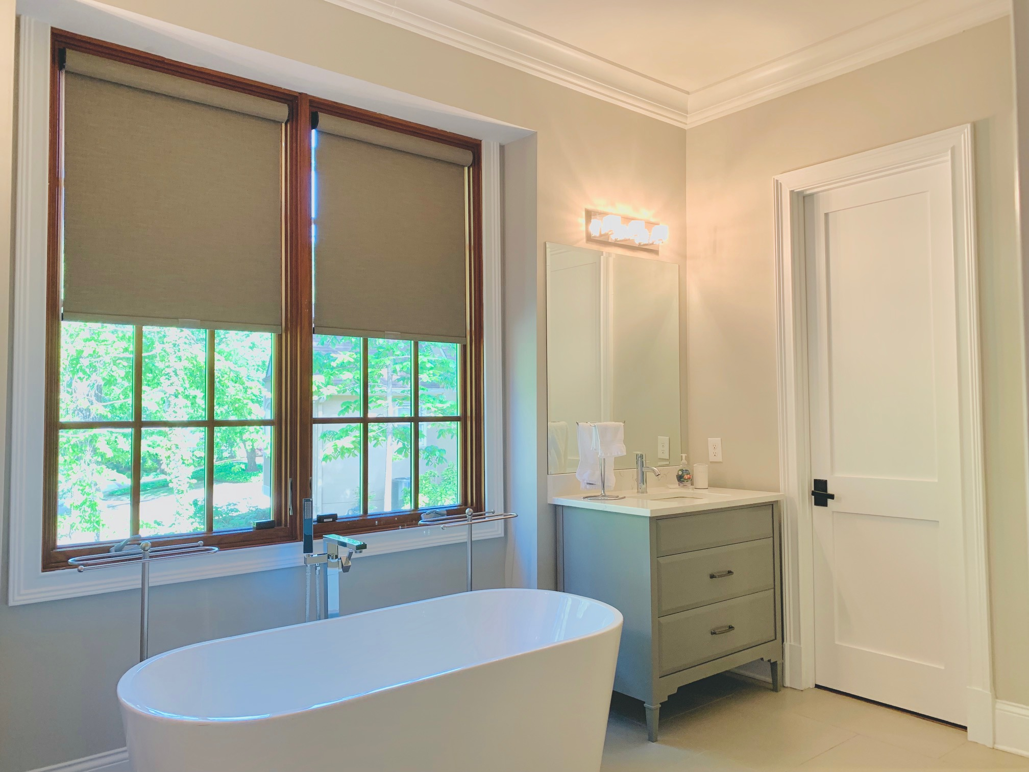 Roller Shades in Master Bathroom